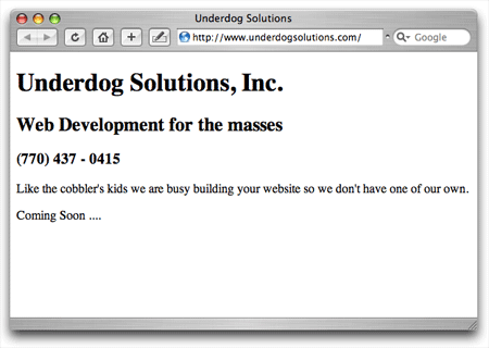 Underdog Solutions coming soon screenshot